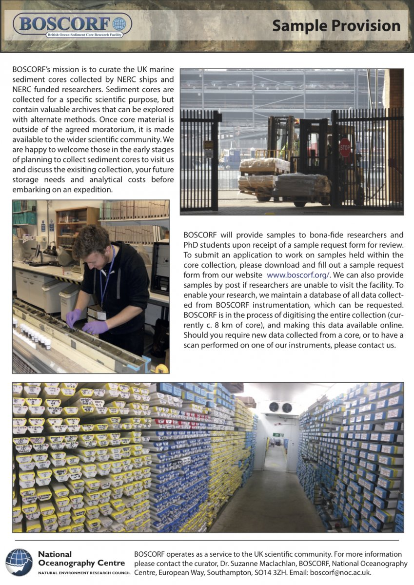 Sample And Analysis Requests Boscorf British Ocean Sediment Core Research Facility