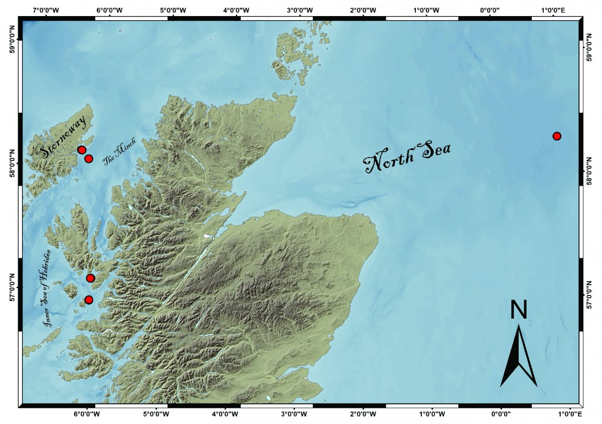 Image 1: Map showing the location of the sediment cores from the 2019 Marine Scotland Blue Carbon Cruise (Map courtesy of Allan Audlsey)