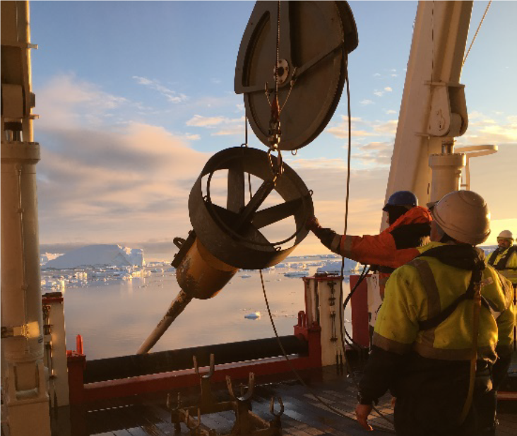 Image 2: Sunset coring aboard the S.A. Agulhas II (Image courtesy of Jeff Evans)