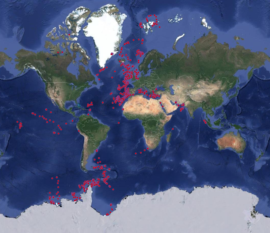 Image 1: Map showing the locations of sediment cores currently held in the BOSCORF repository and available for further analysis